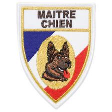 Écusson Patch en soie tricolore brodé MAÎTRE CHIEN BERGER ALLEMAND - 9,5 x 7 cm