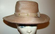 1960s Vintage YSL YVES SAINT LAURENT Taupe Straw Safari Hat with Lacing Detail
