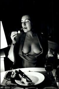1987 Helmut Newton Wife June Topless Breasts Exposed Portrait Art Photo Gravure