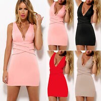 Womens Deep V Neck Sleeveless Bodycon Clubwear Evening Party Cocktail Mini Dress