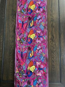 Handmade Butterfly Embroidered Mexican Table Runner Bohemian Camino de Mesa
