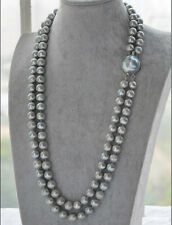2 ROWS AA++ 9-10MM GRAY SOUTH SEA PEARL NECKLACE 19-20""