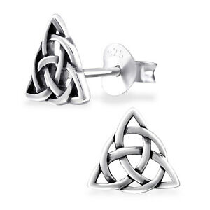ICYROSE 925 Sterling Silver Triangle Celtic Infinity Knot Stud Earrings 3124