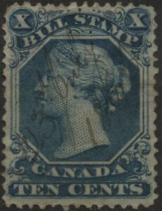 Canada VanDam #FB27 10c blue bill stamp of 1865 used, faults, perf 13.5