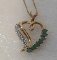 Vintage golden 925 Sterling Silver Crysoprase Heart Pendant Necklace