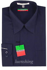 New men's dress shirt long sleeve fly front formal wedding prom party Navy blue