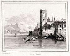 ISOLA BELLA. Lago Maggiore.Stresa. Regno di Sardegna. ACCIAIO.Stampa Antica.1838