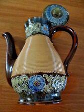 Antique Royal Doulton Lambeth Art Nouveau Coffee Pot England Stoneware Artist