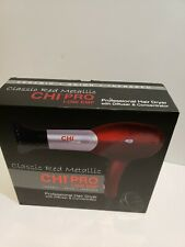 CHI 'Classic Red Metallic' Professional Hair Dryer w/ Diffuser & Concentrator.