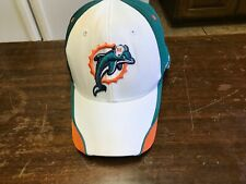 NWOT Miami Dolphins hat, cap white, green, orange fitted size L, XL flex fit