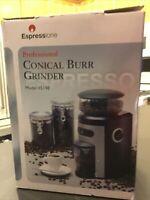 *New* ESPRESSIONE Professional Conical BURR COFFEE GRINDER 150W Black/Silver
