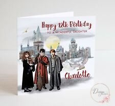 Personalised Harry Potter Birthday Card - Magic School - Son Daughter
