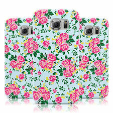 SHABBY CHIC PINK & BLUE FLORAL ROSE CASE COVER FOR SAMSUNG GALAXY MOBILE PHONES