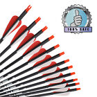 12X 26/28/30'' Archery Carbon Shaft Arrow 3'' Vane Bolt Plastic Nock Hunting Red