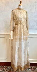 Vintage 1960's 70's Gold Paisley Petticoat Eastern Boho Shimmer Maxi Dress S 10