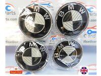 BMW Carbon Fibre Black / Chrome Alloy Wheel Centre Caps 68mm, 1, 3, 5, 7, Series