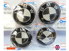 BMW de fibra de carbono Negro/Cromo Aleación Centro De Rueda Caps 68mm, 1,3, 5, 7, Serie
