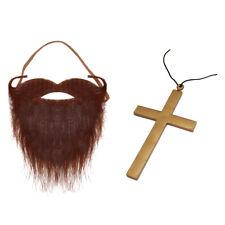 Jesus Christ Fancy Dress Costume Accessories (Brown Beard & Crucifix Necklace)