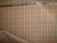 """2.38 yd HOLLAND SHERRY WOOL FABRIC Super 140s Check 8 oz SUITING 86"""" BTP"""