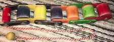VINTAGE PLAYSKOOL OLD WOODEN JOINTED ROLLING ROLLER PULL TOY PRIMARY COLORS