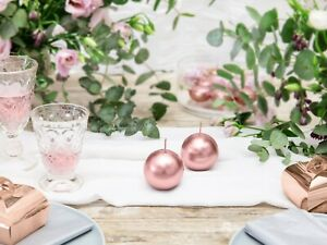 Rose Gold Candle Birthday Party Engaged Wedding Christmas Home Decor Sphere 8cm
