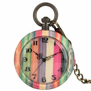 Creative Colorful Wood Pocket Watch Bamboo Vintage Pendant Quartz Chain Holder