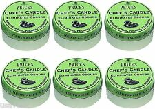 6 x Prices Chefs Scented Candle Tin Lid Eliminates Kitchen Cooking Odours