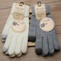 Mittens Winter Warm Woolen Touch Screen Women Gloves Knitted Wool Full Finger