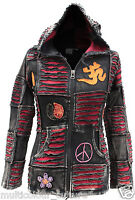Women Om Peace Pointy Hooded Gothic Style Punk Ladies Ribs Hoodie Outer Jacket