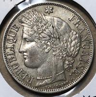 1870 A France 5 Francs Paris Mint Silver Coin XF Condition