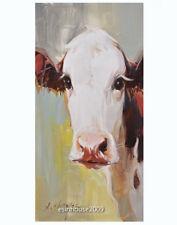 The Original Farm Animals Oil Painting on Canvas Holstein Friesian Milk Cow Face
