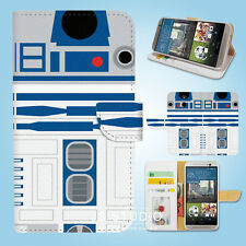 HTC One M7 M8 M9 Flip Wallet Case Cover Star Wars R2D2 W087