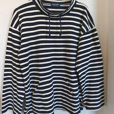 Saint James Navy Blue /Cream Striped Drawstring Neck Cotton Knit Pullover Top  S