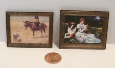 2 DOLLHOUSE MINIATURE PICTURES FRAMED