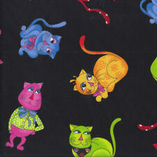 Colourful Tossed Cats on Black Loralie Designs Quilting Fabric FQ or Metre *New*