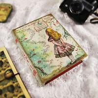 Wooden Handmade Keepsake Box Jewelry Book Vintage Alice In Wonderland Storage