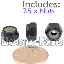 #8-32 NM - Qty 25 - Nylon Insert Hex Lock / Stop Nuts SAE - Steel w Black Oxide