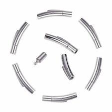 10pcs Stainless Steel Bayonet Clasps Column 30x6mm Cord Finding Bracelet End Cap