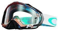 Oakley Men's Mayhem Pro Tagline MX Goggles - Orange Blue/Clear Lens (OO7051-10)