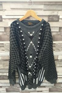IMPERIAL MENS VTG RETRO 90'S WINTER WOOLLEN GEOMETRIC ABSTRACT COSBY JUMPER M/L