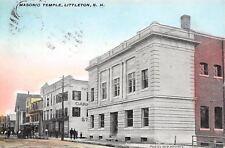 Littleton New Hampshire~Masonic Temple~Main Street Business~Carpet~1909 Postcard