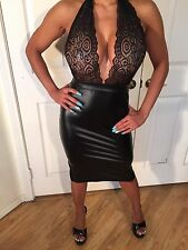 Black Cocktail Party Dress See Thru Stretch Lace Halter & Faux Wet leather  S