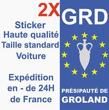 2 Stickers autocollant Groland adhésif plaque d'immatriculation département GRD