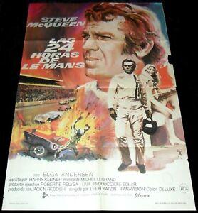 Le Mans ORIGINAL Spain 71' MOVIE POSTER Steve McQueen & Car Exploding mcp Art