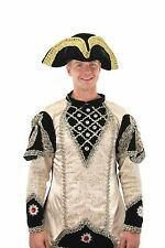 Pirate Hat Black Velour Fabric Wired Costume Hat With Gold Braid One Size
