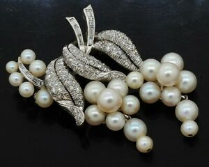14K white gold high fashion 1.50CT VS diamond & pearl floral brooch