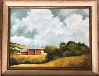 "Oil Painting rural landscape with barn framed on canvas 16"" by 13"" (9"" by 12"")"