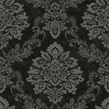 PALAZZO DAMASK TEXTURED VINYL WALLAPER GLITTER - BLACK/SILVER - ARTHOUSE 290400