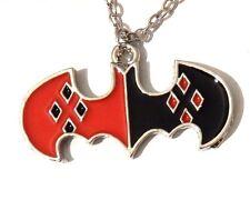 HARLEY QUINN ENAMEL PENDANT silver chain necklace Batman Bat symbol DC Comics 1G