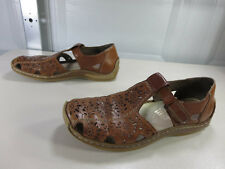Rieker womens brown perforated t-strap mary janes 39 8.5 M VGUC